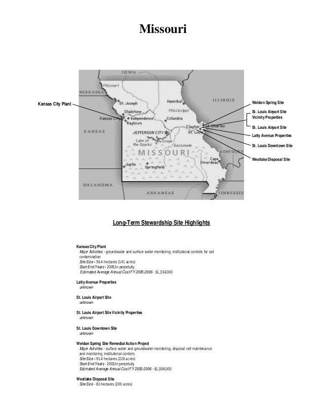 Missouri  Weldon Spring Site  Kansas City Plant  St. Louis Airport Site Vicinity Properties St. Louis Airport Site Latty A...