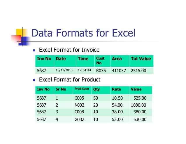 report formats in excel