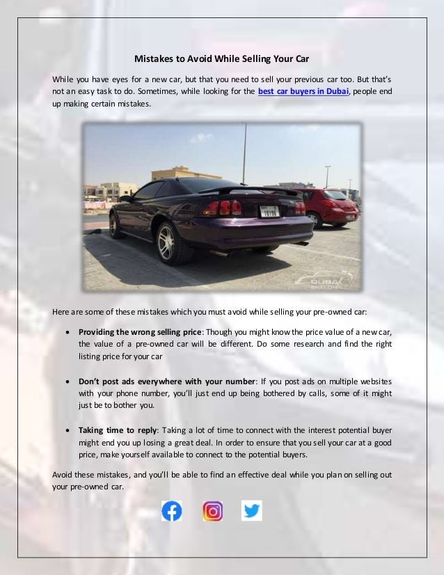 Car Selling Websites >> Mistakes To Avoid While Selling Your Car