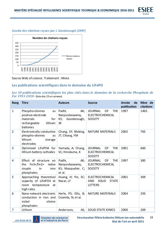 Structuration  filière  batteries  lithium  ion  automobile   Etat  de  l'art  en  av...