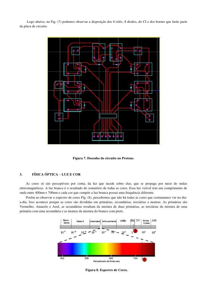 Logo abaixo, na Fig. (7) podemos observar a disposição dos 8 relés, 8 diodos, do CI e dos bornes que farão parteda placa d...