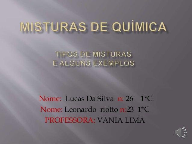 Nome: Lucas Da Silva n: 26 1*C Nome: Leonardo riotto n:23 1*C PROFESSORA: VANIA LIMA