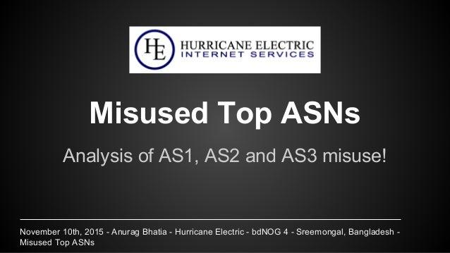 November 10th, 2015 - Anurag Bhatia - Hurricane Electric - bdNOG 4 - Sreemongal, Bangladesh - Misused Top ASNs Misused Top...
