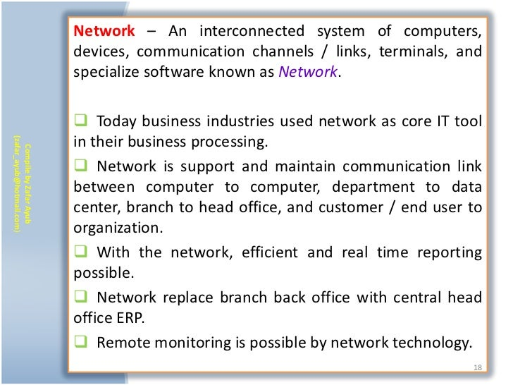 Network – An interconnected system of computers,                           devices, communication channels / links, termin...