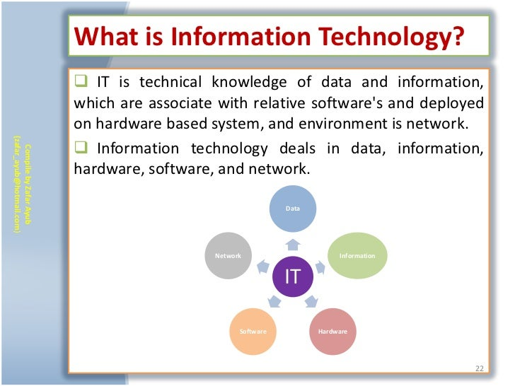 What is Information Technology?                            IT is technical knowledge of data and information,            ...