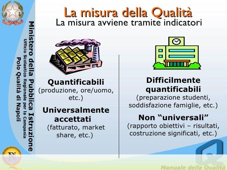 La misura della Qualità <ul><li>La misura avviene tramite indicatori  </li></ul>Quantificabili  (produzione, ore/uomo, etc...
