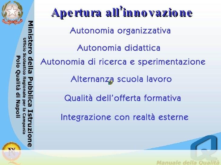Autonomia organizzativa Autonomia didattica Autonomia di ricerca e sperimentazione Alternanza scuola lavoro <ul><ul><ul><l...