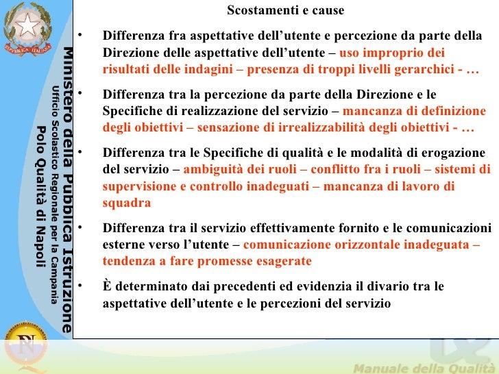 <ul><li>Scostamenti e cause </li></ul><ul><li>Differenza fra aspettative dell'utente e percezione da parte della Direzione...