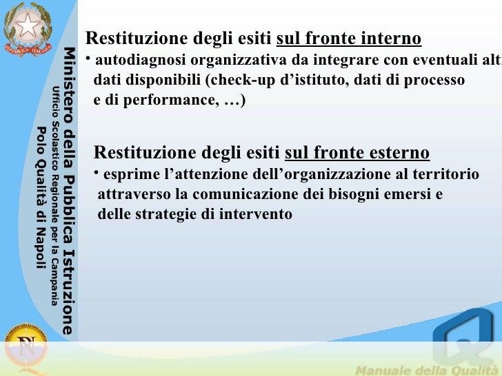 <ul><li>Restituzione degli esiti  sul fronte interno </li></ul><ul><li>autodiagnosi organizzativa da integrare con eventua...