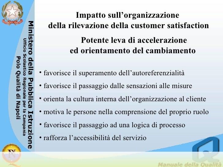 Impatto sull'organizzazione  della rilevazione della customer satisfaction Potente leva di accelerazione  ed orientamento ...