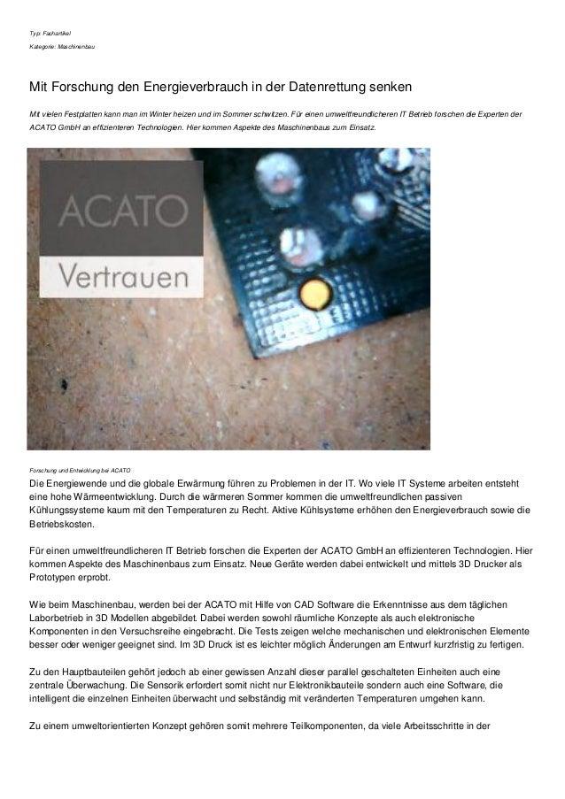 Typ: Fachartikel  Kategorie: Maschinenbau  Mit Forschung den Energieverbrauch in der Datenrettung senken  Mit vielen Festp...