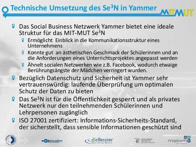 Technische Umsetzung des Se3N in Yammer Das Social Business Netzwerk Yammer bietet eine ideale Struktur für das MIT-MUT Se...