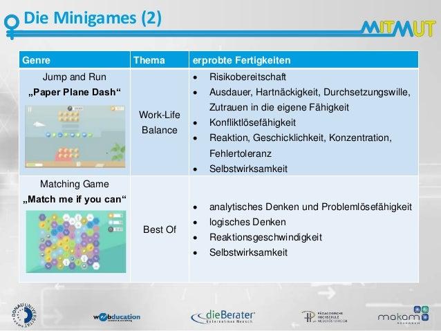 """Die Minigames (2) Genre Thema erprobte Fertigkeiten Jump and Run """"Paper Plane Dash"""" Work-Life Balance  Risikobereitschaft..."""
