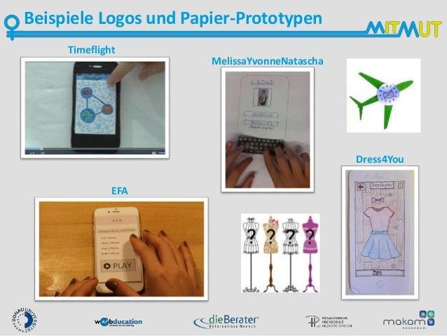 Beispiele Logos und Papier-Prototypen Timeflight EFA Dress4You MelissaYvonneNatascha