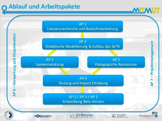 Ablauf und Arbeitspakete AP 1 Literaturrecherche und Bedürfniserhebung AP 2 Didaktische Modellierung & Aufbau des Se3N AP ...