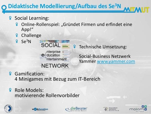 """Didaktische Modellierung/Aufbau des Se3N Social Learning: Online-Rollenspiel: """"Gründet Firmen und erfindet eine App!"""" Chal..."""