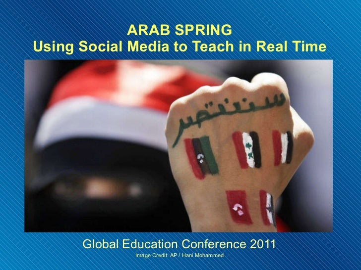 ARAB SPRING Using Social Media to Teach in Real Time Global Education Conference 2011 Image Credit: AP / Hani Mohammed