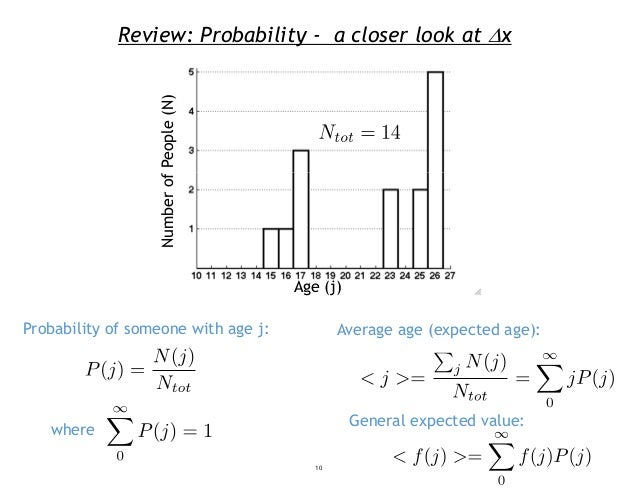 Review: Probability - a closer look at x Probability of someone with age j: Average age (expected age): General expected ...