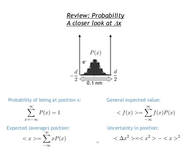 Review: Probability A closer look at x Probability of being at position x: General expected value: Uncertainty in positio...