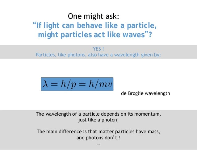 """One might ask: """"If light can behave like a particle, might particles act like waves""""? YES ! Particles, like photons, also ..."""