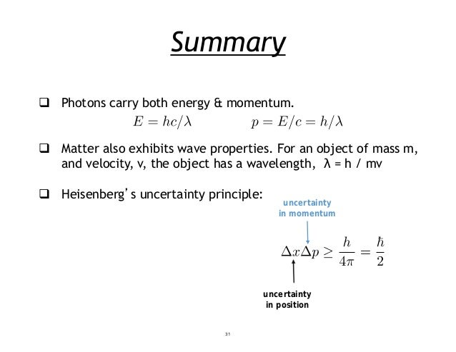 Summary  Photons carry both energy & momentum.  Matter also exhibits wave properties. For an object of mass m, and veloc...