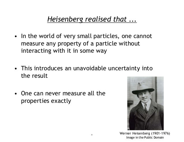 Heisenberg realised that ... • In the world of very small particles, one cannot measure any property of a particle without...