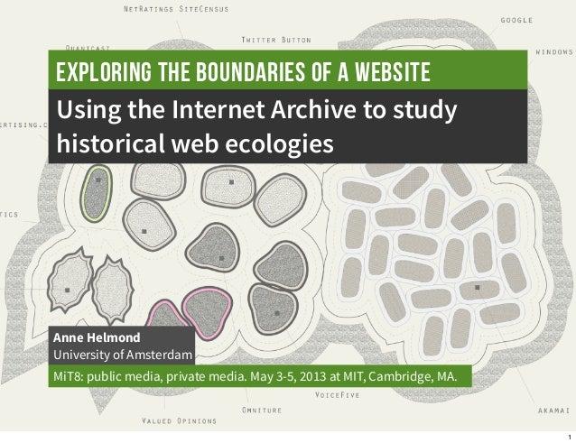 Using the Internet Archive to studyhistorical web ecologiesAnne HelmondUniversity of AmsterdamMiT8: public media, private ...