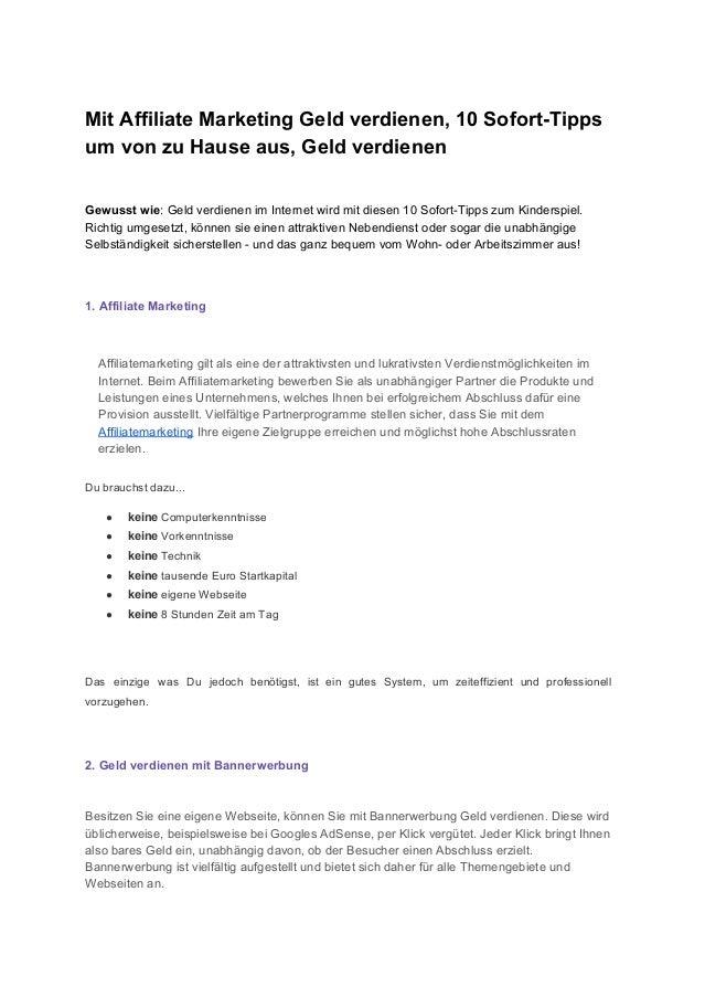 MitAffiliateMarketingGeldverdienen,10SofortTipps umvonzuHauseaus,Geldverdienen   Gewusstwie:Geldverdi...