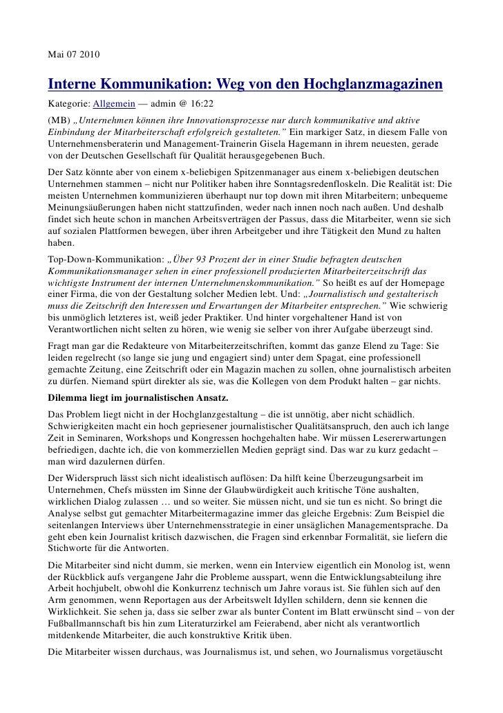 """Mai 07 2010Interne Kommunikation: Weg von den HochglanzmagazinenKategorie: Allgemein — admin @ 16:22(MB) """"Unternehmen könn..."""