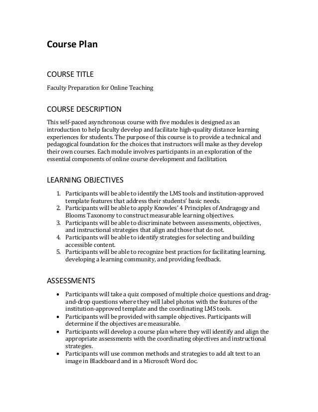 Course Plan COURSE TITLE Faculty Preparation for Online Teaching COURSE DESCRIPTION This self-paced asynchronous course wi...