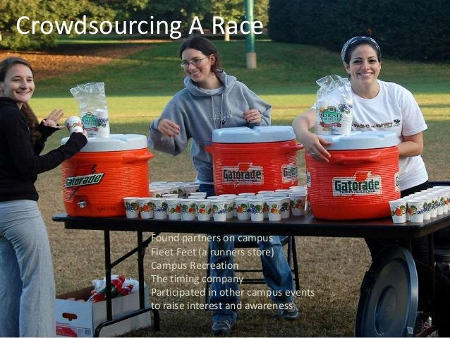 Crowdsourcing A Race Found partners on campus Fleet Feet (a runners store) Campus Recreation The timing company Participat...