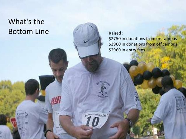 What's the Bottom Line Raised : $2750 in donations from on campus $3900 in donations from off campus $2960 in entry fees