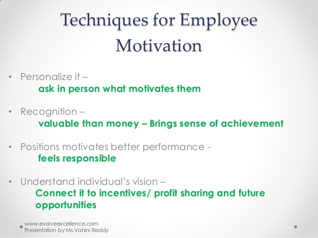 "the employee motivation techniques This article will walk you through an 1) introduction to google's work culture, 2) employee motivation the google way, 3) work still gets done, 4) benefits of google's way of employee motivation, 5) examples of google products created by its employees within 20% of their ""free time."