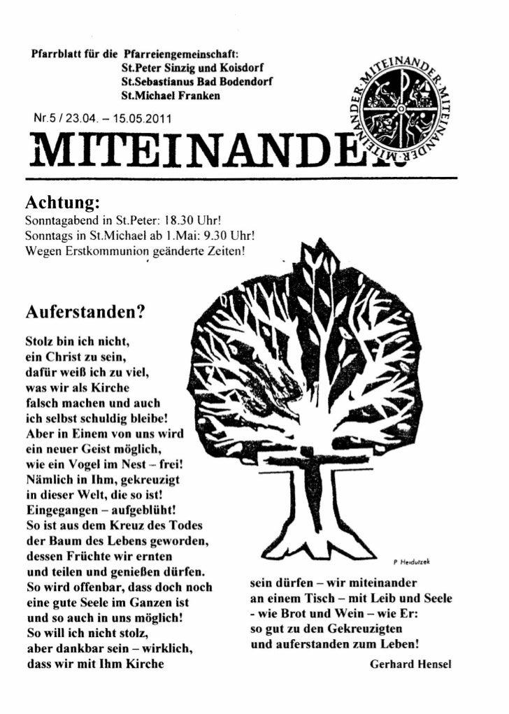 Pfarrblatt für die Pfarreiengemeinschaft:                    St.Peter Sinzig und Koisdorf                    St.Sebastianu...