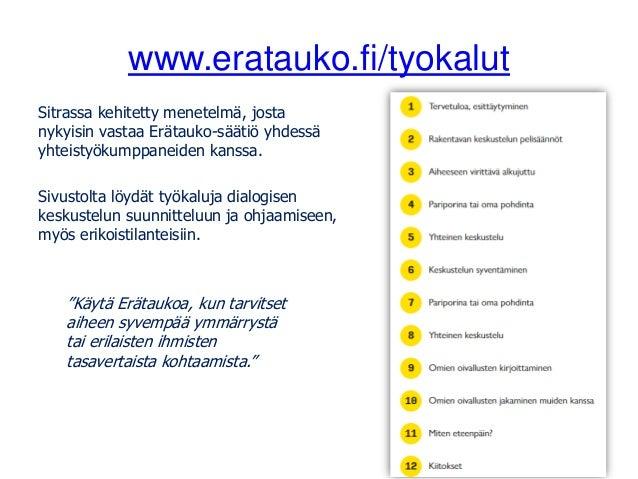 www.eratauko.fi/tyokalut Sitrassa kehitetty menetelmä, josta nykyisin vastaa Erätauko-säätiö yhdessä yhteistyökumppaneiden...