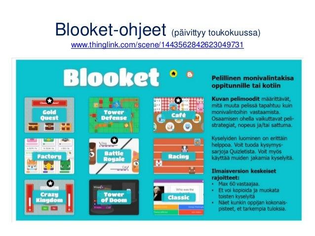 Blooket-ohjeet (päivittyy toukokuussa) www.thinglink.com/scene/1443562842623049731