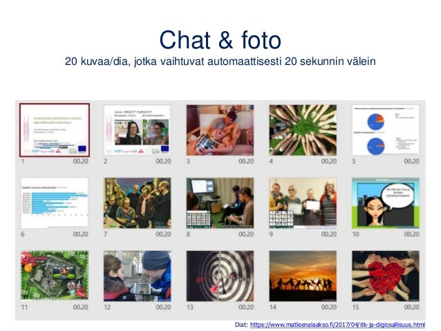 Chat & foto 20 kuvaa/dia, jotka vaihtuvat automaattisesti 20 sekunnin välein Diat: https://www.matleenalaakso.fi/2017/04/i...