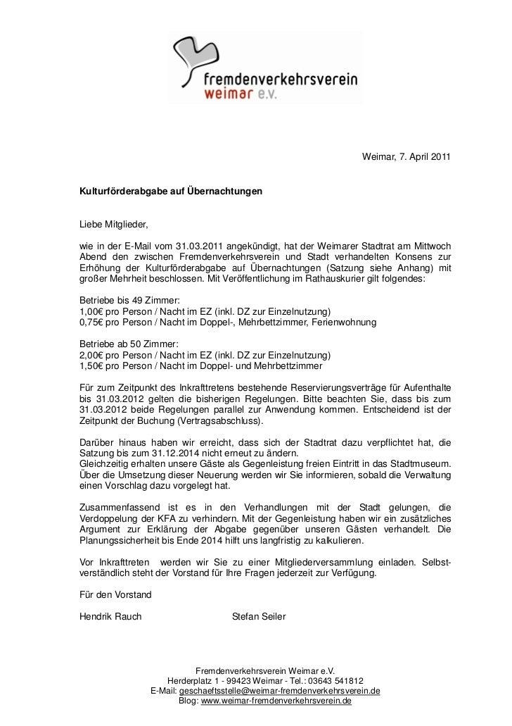 Weimar, 7. April 2011Kulturförderabgabe auf ÜbernachtungenLiebe Mitglieder,wie in der E-Mail vom 31.03.2011 angekündigt, h...