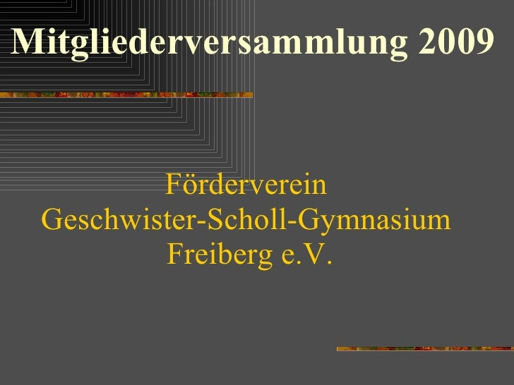 Förderverein  Geschwister-Scholl-Gymnasium  Freiberg e.V. Mitgliederversammlung 2009