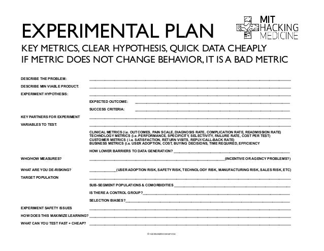 Mit hackingmedicine healthcare redesign toolset and worksheets 2014 for How to plan and design an experiment
