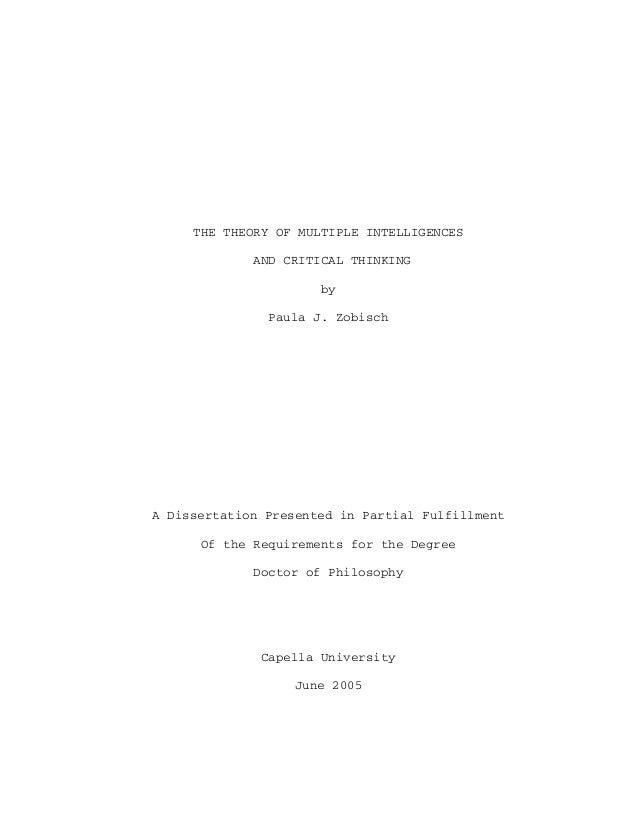 THE THEORY OF MULTIPLE INTELLIGENCES             AND CRITICAL THINKING                      by               Paula J. Zobi...