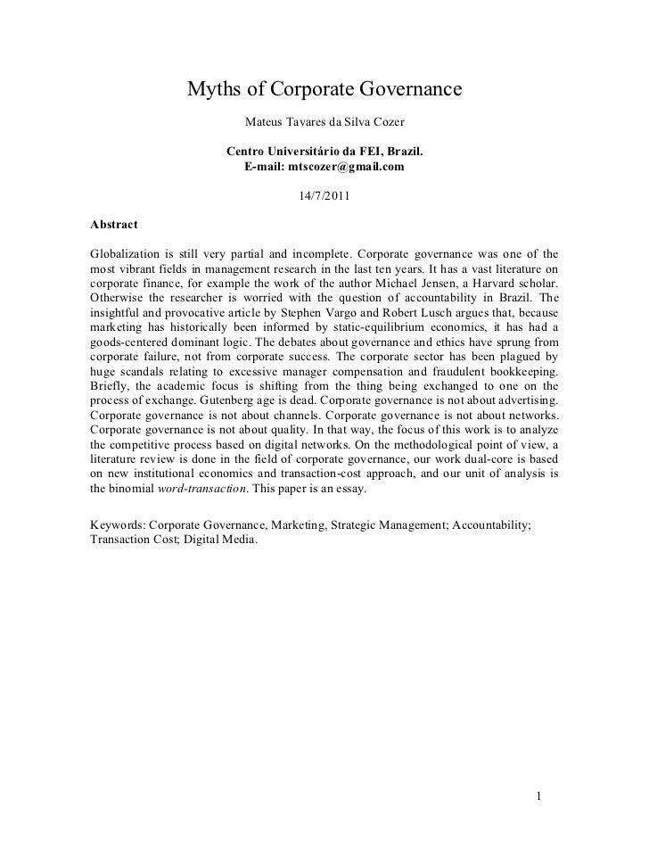 Myths of Corporate Governance                              Mateus Tavares da Silva Cozer                          Centro U...