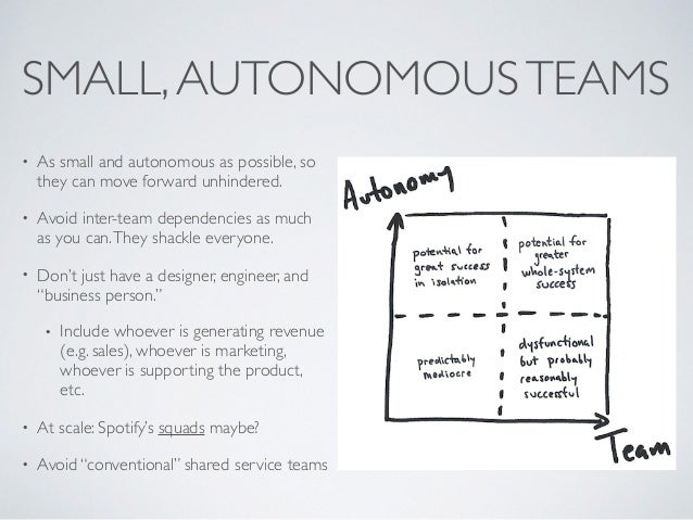 SMALL,AUTONOMOUSTEAMS • As small and autonomous as possible, so they can move forward unhindered. • Avoid inter-team depen...