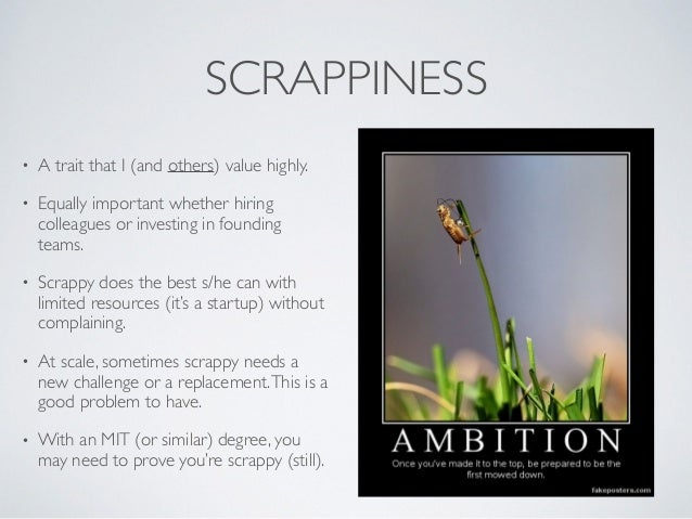 SCRAPPINESS • A trait that I (and others) value highly. • Equally important whether hiring colleagues or investing in foun...