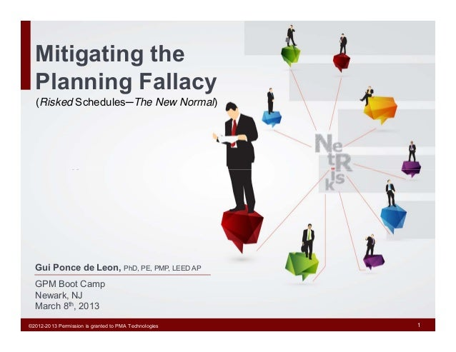 Mitigating the  Planning Fallacy   (Risked Schedules─The New Normal)  Gui Ponce de Leon, PhD, PE, PMP, LEED AP  GPM Boot C...