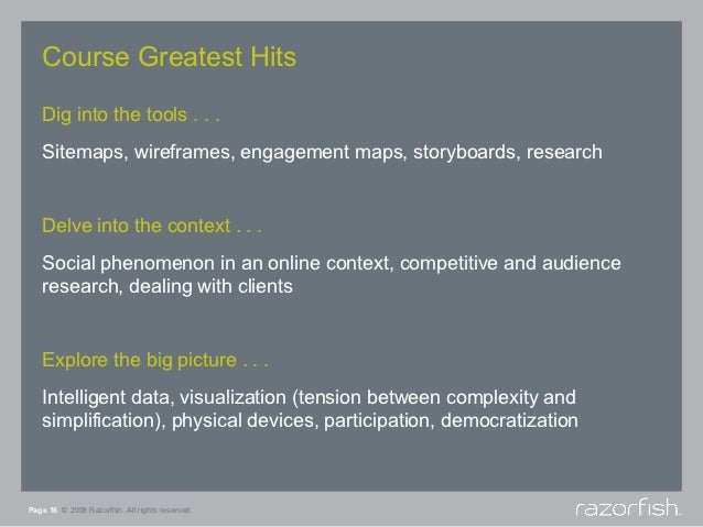 Course Greatest Hits   Dig into the tools . . .   Sitemaps, wireframes, engagement maps, storyboards, research   Delve int...