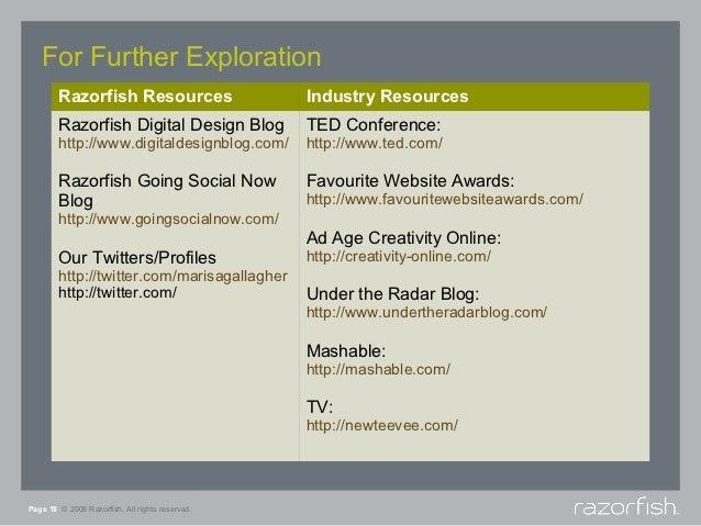 For Further Exploration        Razorfish Resources                      Industry Resources        Razorfish Digital Design...