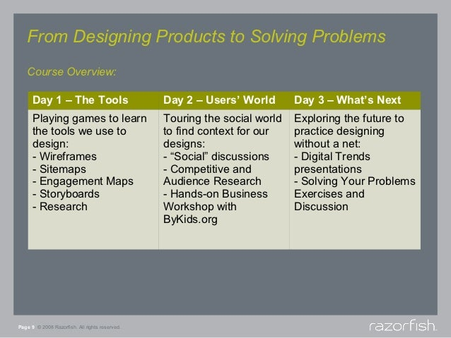 From Designing Products to Solving Problems   Course Overview:      Day 1 – The Tools                         Day 2 – User...