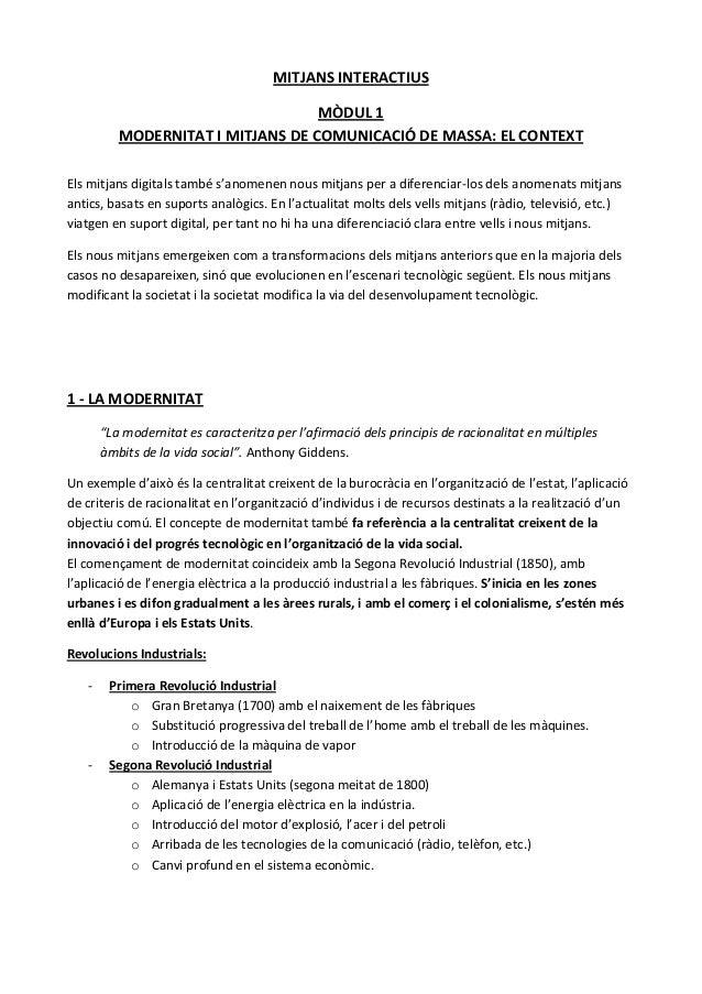 MITJANS INTERACTIUS                                   MÒDUL 1          MODERNITAT I MITJANS DE COMUNICACIÓ DE MASSA: EL CO...
