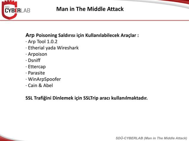 Man in The Middle Attack Arp Poisoning Saldırısı için Kullanılabilecek Araçlar : · Arp Tool 1.0.2 · Etherial yada Wireshar...
